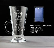 Personalised Latte Coffee Glass,Retirement,Birthday,Christmas,Gift,free gift box
