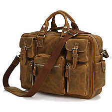Rare Crazy Horse Leather Men's Briefcase Laptop Bag Dispatch Shoulder Huge 16.5""