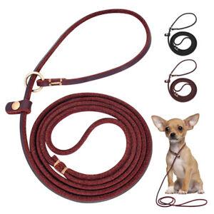 Rolled Leather 4ft Slip Lead Dog Leash Training Walking Collar Leash Black Brown