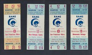 VINTAGE 1972 NFL LOS ANGELES RAMS FULL FOOTBALL TICKETS LOT (4) - ROMAN GABRIEL