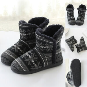 Womens Snowflake Print Winter Warm Ankle Boots Slippers Plush Indoor Floor Shoes