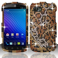 For ZTE Warp Sequent Crystal Diamond BLING Hard Case Phone Cover Cheetah