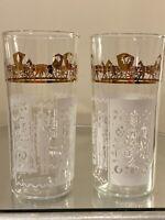 Pair Vintage Anchor Hocking Amish Butterprint Drinking Glasses MCM Metallic