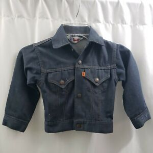 Levis Childs Jean Jacket Orange Tab Denim Boy Girl USA Vintage Kids Size 6 FLAWs
