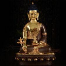 "10"" Tibetan Buddhism copper gilt gold hand painting Medicine Buddha statue"