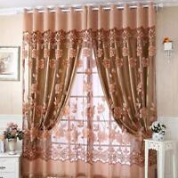 Voile Door Curtain Window Room Drape Panel Floral Peony Scarf Sheer Valance Tull