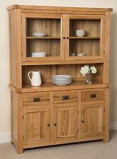 Cottage Solid Oak Wood Large Welsh Dresser Cabinet Wall Unit Furniture