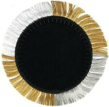 "3 1/2"" Metallic Gold Silver Black Felt Velvet Circle Embroidery Patch"
