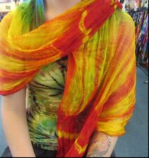 Silky Colourful Rainbow Indian Thin Scarf Wrap With Beads Tie Dye Red Toning