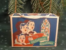 1910 Merry Christmas Greetings Holiday Carroling Display Candy Box