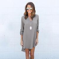 Summer Womens Casual Long Sleeve Chiffon Shirt Ladies Loose Tops Blouse Dress