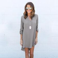 Women Chiffon Blouse Jumper Short/Long Sleeve V Neck Tops Casual Loose T Shirts