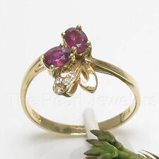 18k Solid Yellow Gold Genuine Diamonds, Natural Red Oval Ruby Cocktail Ring TPJ