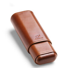 Cohiba Brown Genuine Leather Wood Lined 2 ct Sturdy Cigar Case Travel Holder