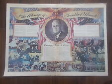 WWII POSTER - THE MESSAGE OF FRANKLIN D. ROOSEVELT - CHRONOLOGY IMPORTANT DATES