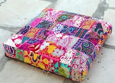 """24"""" Square Box Decorative Embroidered Patchwork Cushion/Pet Bed Cover Pink"""