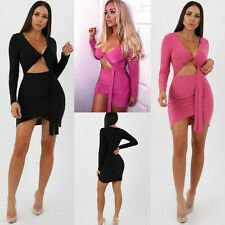 Womens Sexy V Neck Long Sleeve Cut Out Knot Bodycon Slinky Dress Club Wear Party