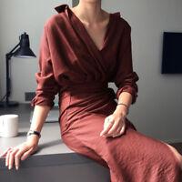 Korean Elegant Autumn Fashion Women V Neck Long Sleeve Bandage Slim Shirt Dress
