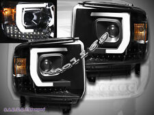14-15 GMC Sierra 1500 2500HD 3500HD LED Projector Plank Style Headlights Black