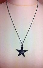 Womens JI LI JEWELLERY Trendy Black Star Pendant Chain Fashion Necklace