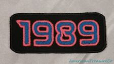 Embroidered Retro Vintage 80s Neon Hot Pink & Blue 1989 Year Patch Iron On USA