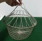 Vintage Metal Wire Collapsible Hanging Egg Vegetable Basket 9  Wide