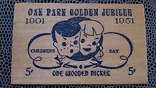 Oak Park Golden Jubilee ILLINOIS 1951 Children's day - One Wooden Nickel