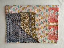 Indian Handmade Kantha Quilt Vintage Bedspread Cotton Blanket Throw Bedding Boho