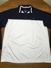 Nautica Mens L 1/4 zip Blue White Mid Sleeve pullover shirt polyester Sailing
