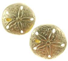"""1"""" Vintage Sand Dollar Earrings Clip-On Goldtone Metal"""