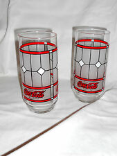 Coca Cola stained glass pair glasses Coke soda pop OOP frosted set of two (2)