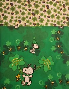 ST. PATRICKS DAY SNOOPY100% Cotton Fabric Material 2 PATTERNS