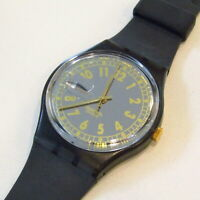 """Vintage SWATCH Watch """"Sixty Three Lui"""" GM703 1993 Black Gold NEW Old Stock"""