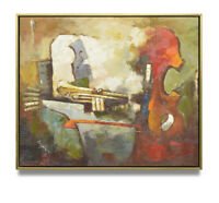 NY Art - Impressionist Violin & Trumpet 20x24 Original Oil Painting with Frame!