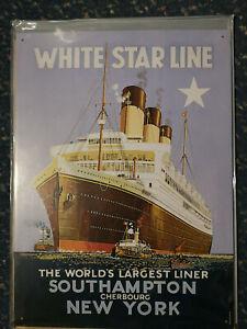 White Star Line Ship maritime  Vintage Advertising Metal tin Steel Wall Sign