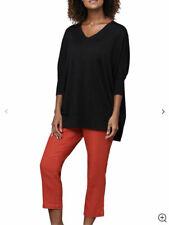 East Capri pants three quarter length rouge red trousers 100% linen size 14