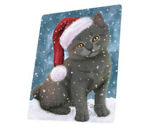 Let it Snow Christmas Chartreux Kitten Cat Tempered Cutting Board Large Db70