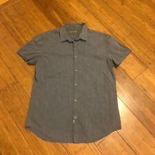 Men's Calvin Klein Gray Button Down Short Sleeve Shirt Medium Solid