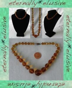 Amber Crystal Czech Glass Faceted Bead Beaded Necklace Antique Vintage 1920s 30s