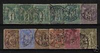 """FRANCE STAMP 1876-78 Y&T 61 / 72 """" SAGE SERIE 12 TIMBRES """" OBLITERES B/TB/TTB"""