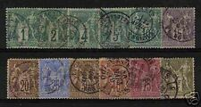 "FRANCE STAMP 1876-78 Y&T 61 / 72 "" SAGE SERIE 12 TIMBRES "" OBLITERES B/TB/TTB"