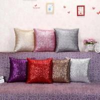 Solid Glitter Sequins Throw Pillow Case Bling Sofa Car Home Decor Cushion Cover