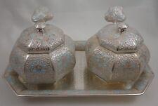 Vintage Korean Silver 99% Cloisonne Condiment Set Salt Sugar Tray Spoons