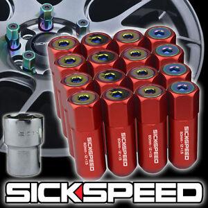 SICKSPEED 16 PC RED/NEO CHROME CAPS ALUMINUM 60MM LOCKING LUG NUTS 12X1.5 L16