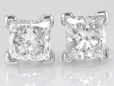 1.00ct F SI VG Princess Cut Diamond Solitaire Stud Earrings in 18ct White Gold