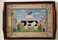 Pimpernel Country Folk Art Wooden Tray Farm Cow Sheep Rooster Animals Serving