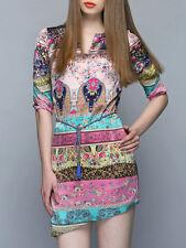 Queen Mulock satin silk 3/4 sleeve multicolor women's tunic/dresses size M