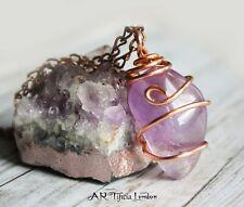 Amethyst Copper Wire Pendant & Necklace Handmade Calm Serene Healing Jewellery