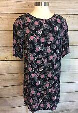 Staring at Stars Anthropologie Floral Tunic Dress Size M Black Pink Print