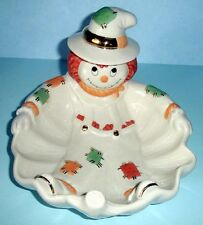 Lenox Halloween SCARECROW Candy Dish Serving Bowl Gold Trim Hand painted NEW